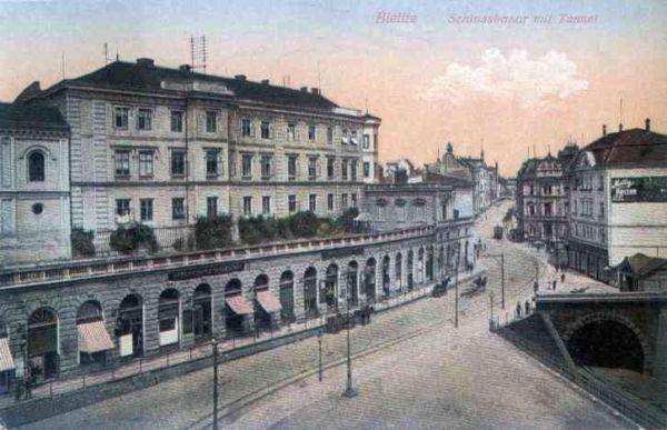 Bielsko-Biała, Zamek Sułkowskich i ul. Zamkowa - 1915