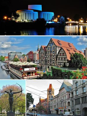 Collage of views of Bydgoszcz, Poland