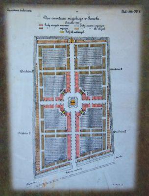 Central Cemetery Rymanowska in Sanok design map by Władysław Beksiński