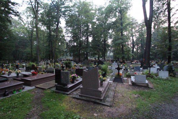 Cmentarz św. Jadwigi w Pszczynie - droga z cmentarza wojskowego