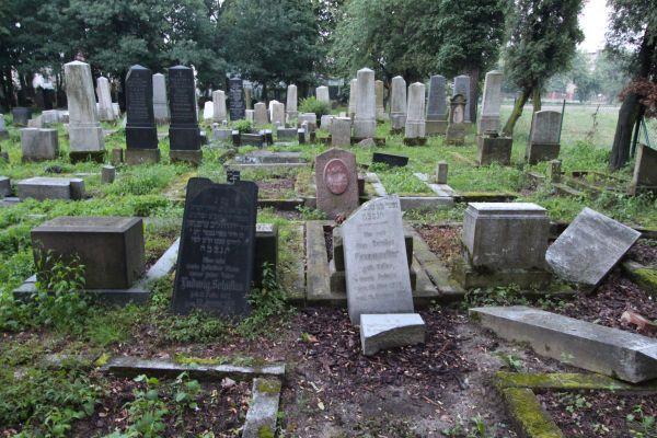 Zniszczone macewy na cmentarzu żydowskim w Pszczynie