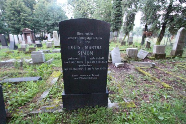 Kirkut w Pszczynie - grób Louisa i Marthy Simon
