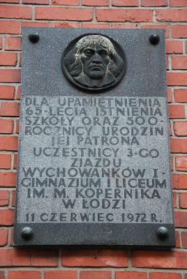 Plaque Copernicus, Łódź 41 Więckowskiego Street