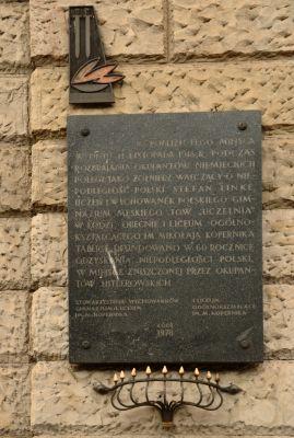 National Bank of Poland in Łódź, plaque of Stefan Linke, Kościuszki 14