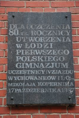Plaque first polish gymnasium in Łódź, 41 Więckowskiego Street