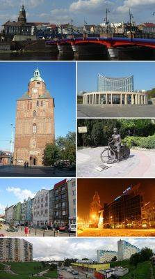 Collage of views of Gorzow Wielkopolski, Poland