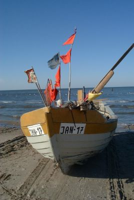Poland Jantar - fishing boat on see shore