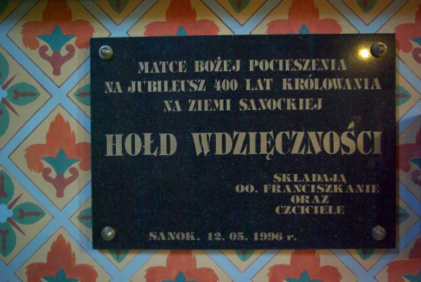 Franciscan Church in Sanok, Tribute of Gratitude plaque
