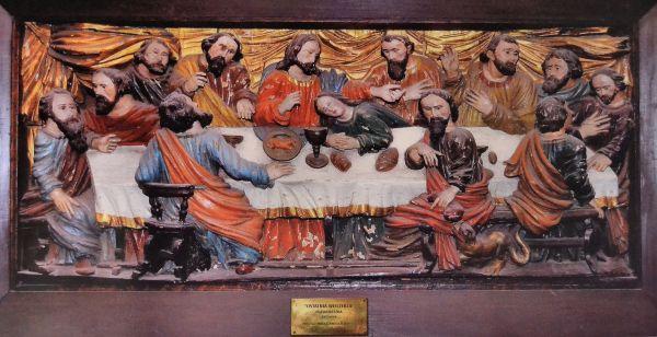 Kolobrzeg katedra relief Ostatnia Wieczerza