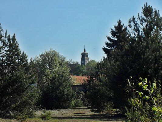 Widok na kościół z ulicy Zachodniej w Piecach