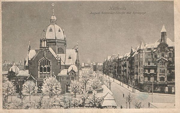 Kattowitz - August Schneider-Strasse mit Synagoge