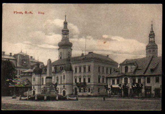 Ratusz w Pszczynie (Kartka pocztowa, 1914)