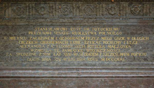Napis na sarkofagu Potockiego