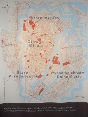 Gdańsk spichlerz Błękitny Baranek - plan Gdańska z XIX wieku