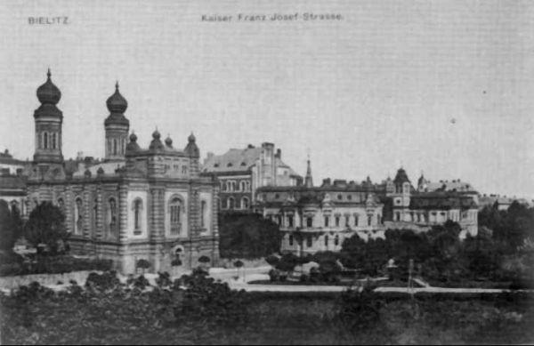 Bielsko-Biała 1910, Synagoga i ul. 3 Maja