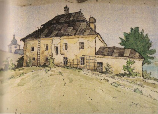 Karol Praus Jr., Zamek Skoczowski, akwarela 1930