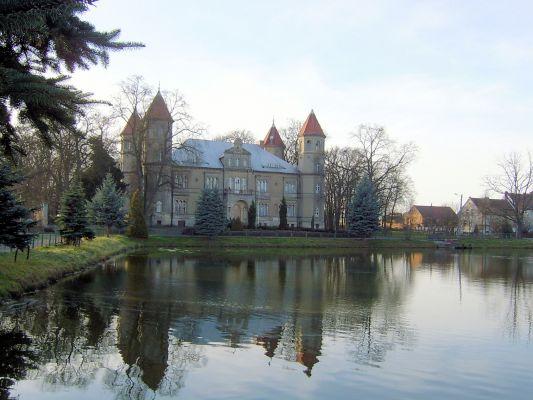 Dąbrówka Wielkopolska - widok na neorenesansowy pałac