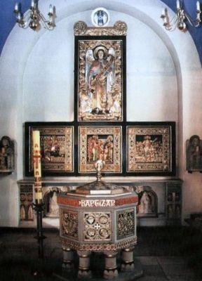 Chrzcielnica w kościele w Chropaczowie