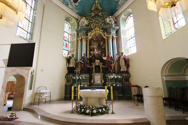 Pszczyna, kościół Wszystkich Świętych, ołtarz główny, zbliżenie