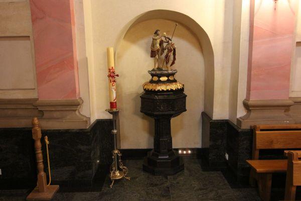 Pszczyna, kościół Wszystkich Świętych, rzeźba, chrzest