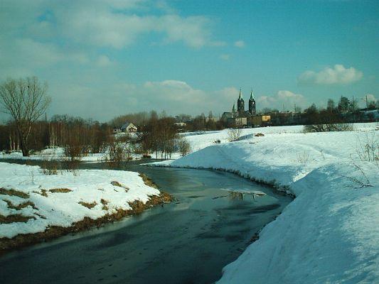 Panorama Kochłowic od rzeki Kochłówki w Rudzie Śląskiej