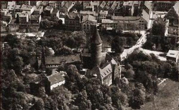 Zamek w latach 1920-1928 - zdjęcie lotnicze