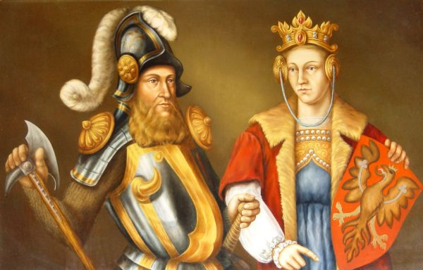Obraz Bogusława V z żoną Elżbietą, wystawa muzeum: Zamek Książąt Pomorskich, Darłowo