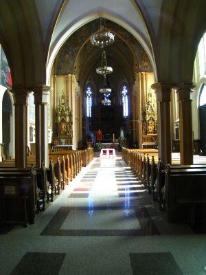 Wnętrze kościoła parafialnego w Wilamowicach
