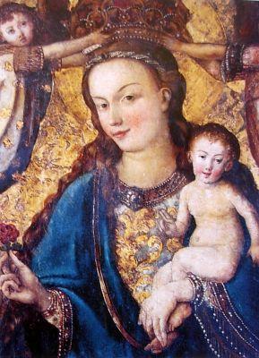 Obraz Matki Boskiej Pięknej Miłości (XV w.) słynący łaskami w ołtarzu głównym Katedry w Bydgoszczy