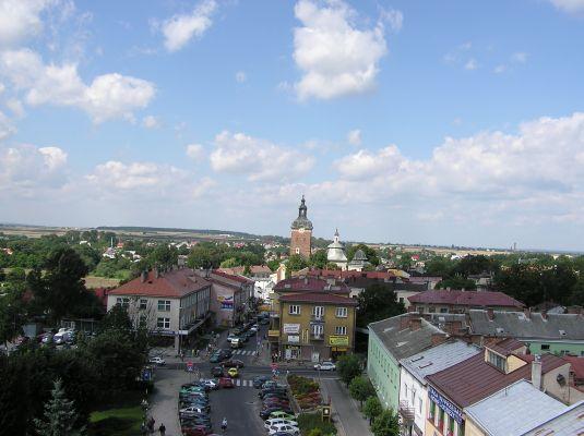 Przeworsk - Widok na rynek miasta z wieży ratusza