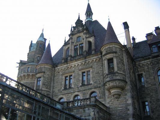 Pałac w Mosznej, wieżyczki od pn-ws, przy oranżerii