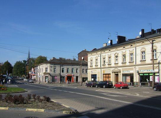 Plac Powstańców Śląskich - początek ul. Bednorza i ul. Obrońców Westerplatte w Szopienicach