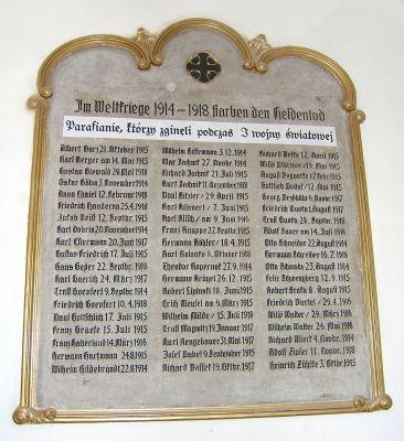 Tablica pamiątkowa w kościele Zbawiciela w Szopienicach dla parafian, którzy zmarly w I wojnie swiatowej