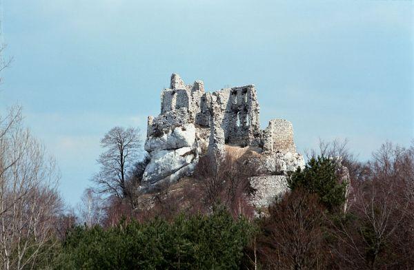 Ruiny zamku Bobolice przed odbudową