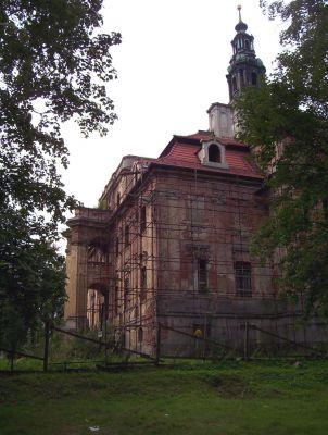 Pałac w Chocianowie podczas remontu w roku 2007