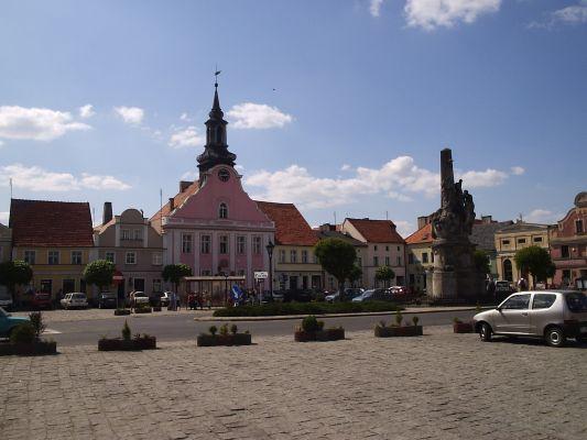 Rynek w Rydzynie z kolumną wotywną św. Trójcy i ratuszem