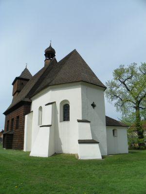 Gliwice-Ostropa, Drewniany kosciół pw. św. Jerzego, widok od absydy