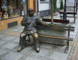 Josef Svejk bench monument in Sanok