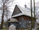 Kościół pw. Św. Anny w Zaklikowie. Na ścianach widoczne tabliczki trumienne pochowanych tu mieszkańców osady.