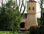 Gołkowice, kościół z XIX w. z wieżą gotycką przeniesioną w XIX w. z Pruchnej